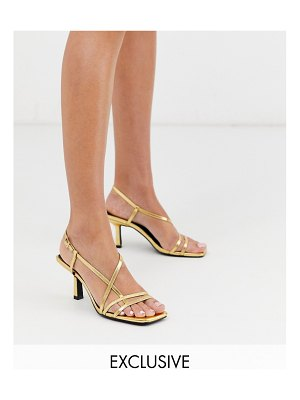 Raid exclusive aadhya strappy heeled sandals in gold