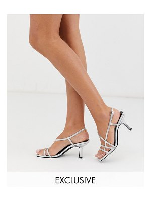 Raid exclusive aadhya strappy heeled sandals in silver