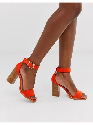 Raid fleur orange stacked block heeled sandals