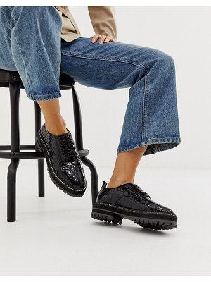 Raid haley black chunky lace up shoes with white stitching