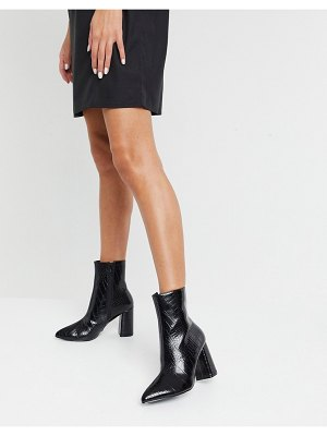 Raid meadow heeled ankle boots in black croc