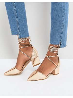Raid RAID Lucky Rose Gold Ankle Tie Block Heeled Shoes