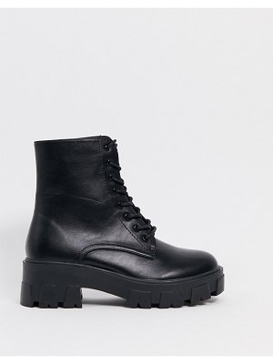 Raid rexx chunky ankle boots with exaggerated cleated sole in black