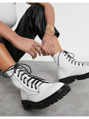 Raid vinita flat chunky lace up ankle boots in off white