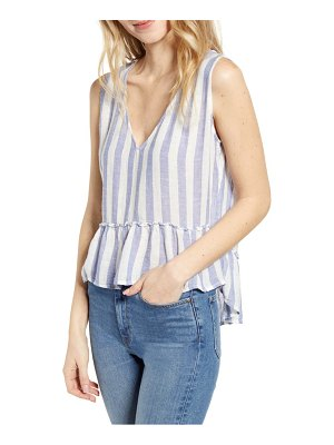Rails mira stripe linen blend sleeveless peplum blouse