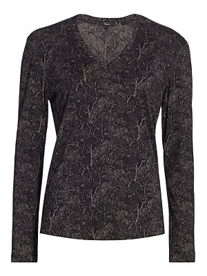 Rails sami snakeskin print v-neck long-sleeve t-shirt