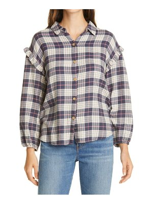Rails willow ruffle sleeve plaid flannel button-up shirt