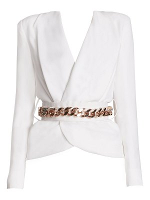 Ralph and Russo belted silk crepe blazer