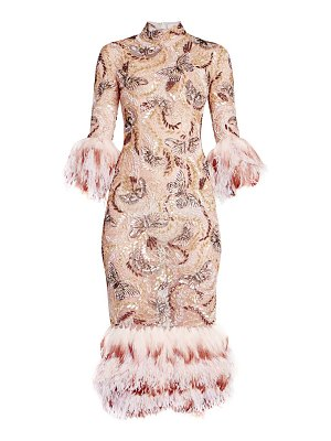 Ralph and Russo embellished feather-hem mini dress