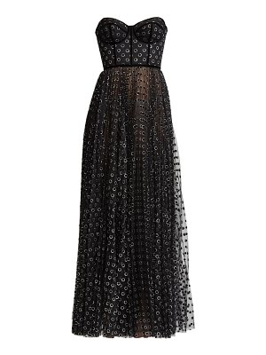 Ralph and Russo metallic polka dot strapless corset tulle gown