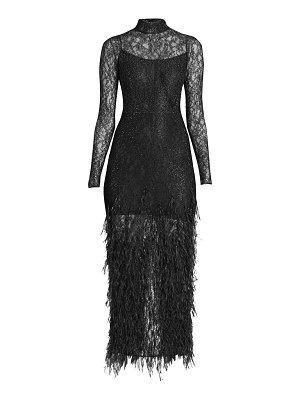 Ralph and Russo stretch mockneck lace & ostrich feather gown