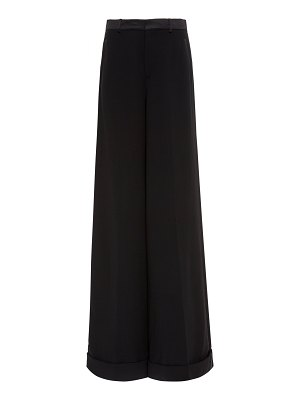 Ralph Lauren alana satin-trimmed wool-blend wide-leg pants