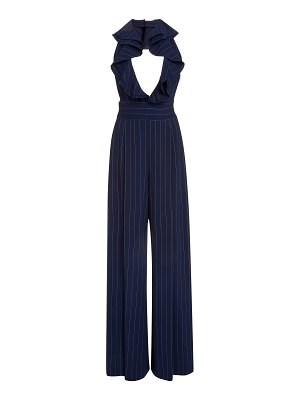 Ralph Lauren alandra ruffled pinstriped wool jumpsuit