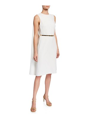 Ralph Lauren Collection Aviana Belted Cape-Back Cocktail Dress