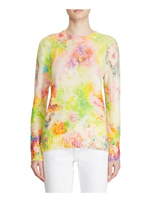 Ralph Lauren Collection Cashmere Floral-Print Crewneck Sweater