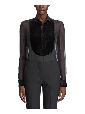 Ralph Lauren Collection Organza Velvet Bibbed Blouse