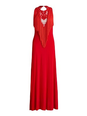 Ralph Lauren Collection sleeveless fringe embroidered gown