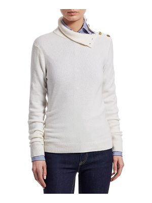 Ralph Lauren Collection iconic style turtleneck button-shoulder cashmere sweater