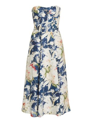 Ralph Lauren dasha strapless floral-print linen-blend midi dress