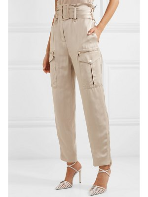 Ralph & Russo belted satin straight-leg pants