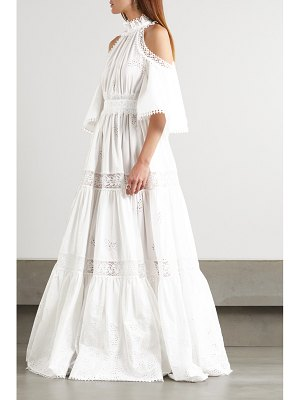Ralph & Russo cold-shoulder crochet-trimmed broderie anglaise cotton-blend gown