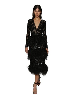 Ralph & Russo Embellished lace midi dress w/ feathers