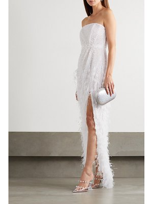 Ralph & Russo strapless embellished feather-trimmed embroidered tulle gown