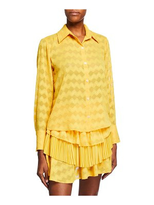 Ramy Brook Mollie Button-Up Chevron Blouse