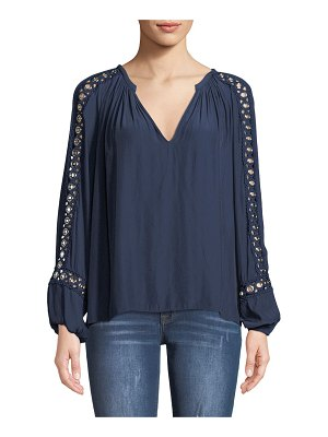 Ramy Brook Sera V-Neck Long-Sleeve Blouse with Grommet Trim