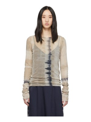 Raquel Allegra brown mesh fitted long sleeve t-shirt