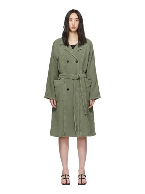 Raquel Allegra green raglan trench coat