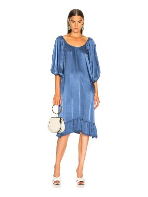 Raquel Allegra Pebble Satin Peasant Ruffle Dress