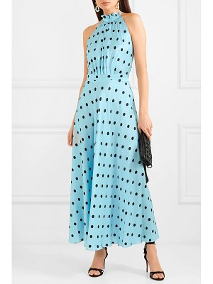 RAQUEL DINIZ giovanna polka-dot silk-satin halterneck maxi dress