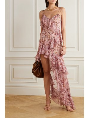 RAQUEL DINIZ stella asymmetric ruffled floral-print silk-chiffon dress