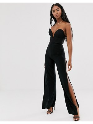 Rare london plunge front lace up back body in black