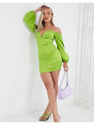 Rare london plunge front mini dress with volume sleeve detail in sage green