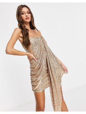 Rare london sequin bandeau mini dress in gold-red