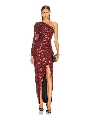 Rasario for fwrd one shoulder draped sequin gown
