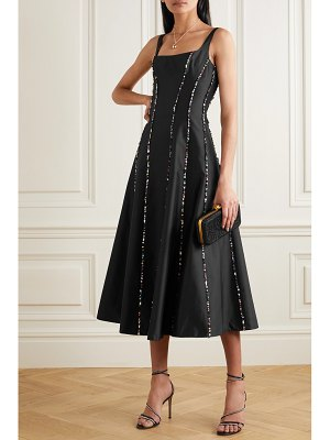 Rasario sequin-embellished silk-shantung midi dress