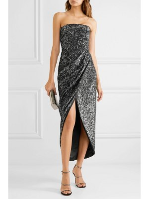 Rasario strapless draped sequined satin dress