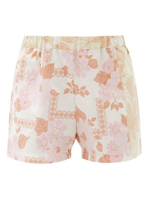 Rave Review jade floral upcycled-bedsheet cotton shorts