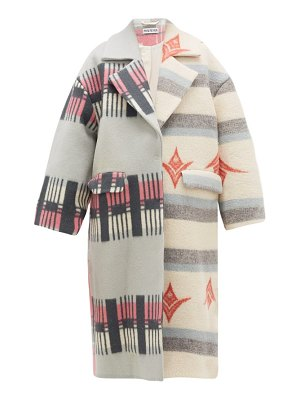 Rave Review lea single-breasted upcycled-blanket wool coat