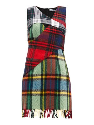 Rave Review upcycled checked-wool mini dress