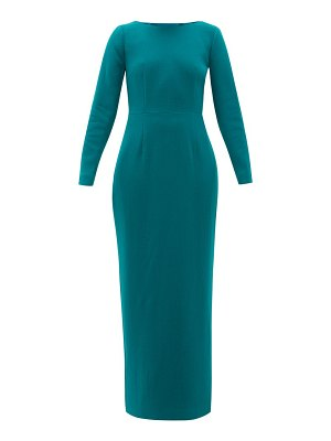 REBECCA DE RAVENEL jamie scoop-neck wool-crepe maxi dress