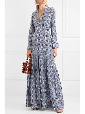 REBECCA DE RAVENEL long field belted printed silk crepe de chine maxi dress