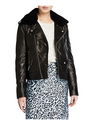 Rebecca Minkoff Andrea Leather Jacket with Faux Fur Trim