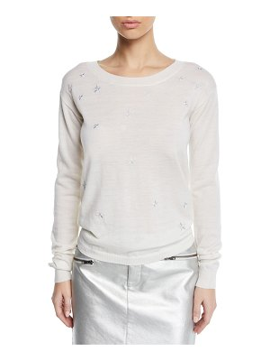 Rebecca Minkoff Lilita Scoop-Neck Sweater with Star Embroidery