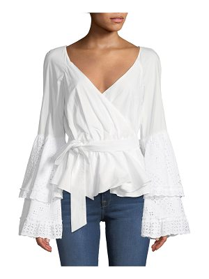 Rebecca Minkoff Melly Embroidered Cotton Bell-Sleeve Blouse