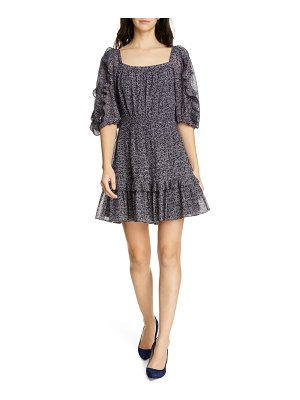 Rebecca Taylor block vine ruffle detail cotton & silk blend dress