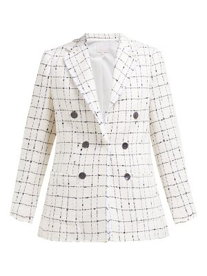 Rebecca Taylor checked double breasted cotton blend tweed blazer